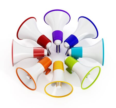 Multi colored megaphones isolated on white background. 3D illustration. Stock Photo