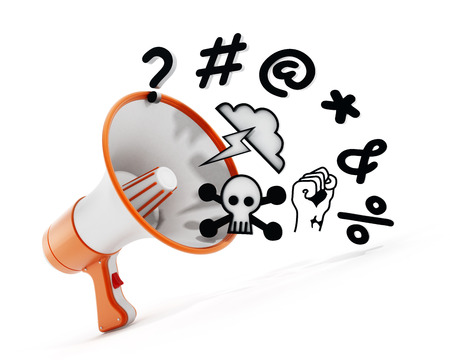 insult: Megaphone with swearing symbols isolated on white background. 3D illustration.
