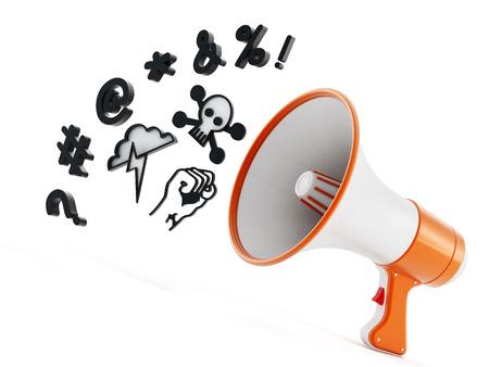 rant: Megaphone with swearing symbols isolated on white background. 3D illustration.