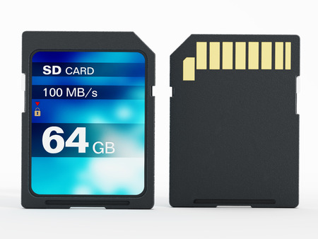 gb: 64 GB SD card isolated on white background. 3D illustration. Stock Photo