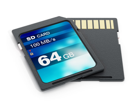sd: 64 GB SD card isolated on white background. 3D illustration. Stock Photo