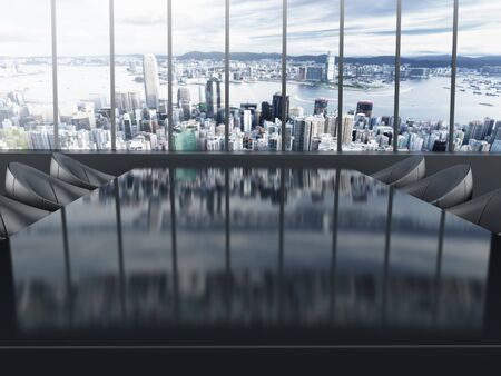 boardroom: Boardroom table with city background. 3D illustration