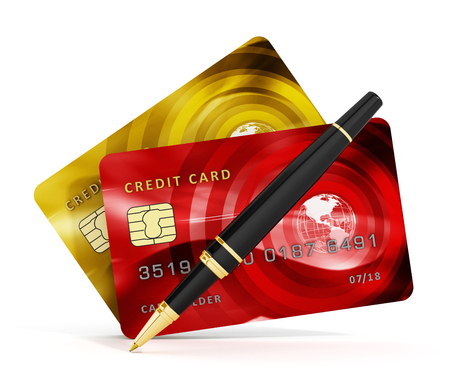 check book: Credit cards, check book and pen isolated on white background. 3D illustration.