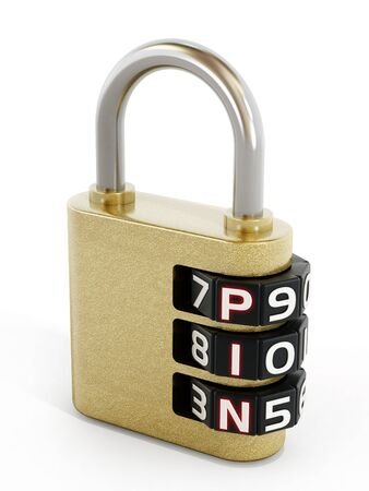 contraseña: Security padlock with pin password. 3D illustration. Foto de archivo