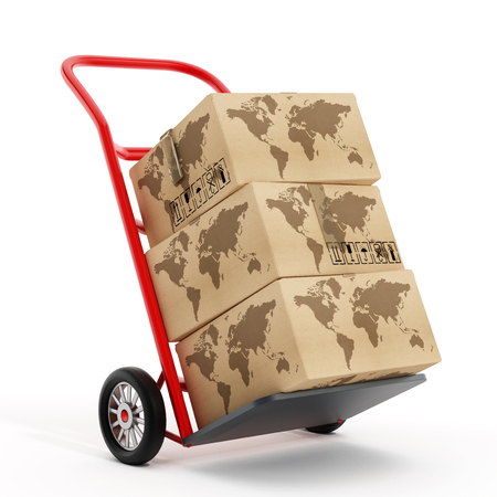 carry on: Cardboard boxes with earth shape on truck hand trolley. 3D illustration.