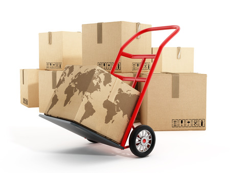 handtruck: Cardboard boxes with earth shape on truck hand trolley. 3D illustration.