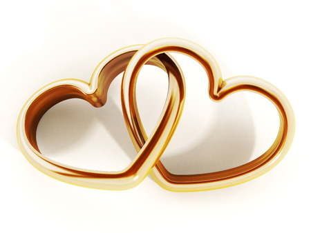ring: Gold heart shaped rings attached to each other. 3D illustration. Stock Photo