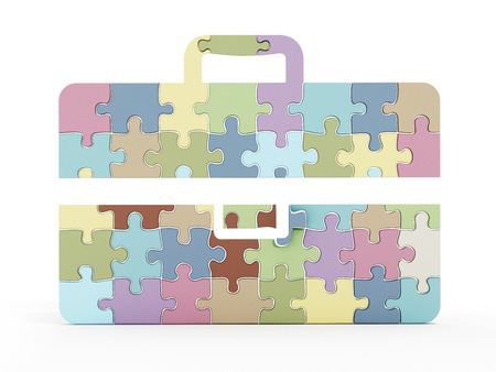 puzzle business: Multi colored puzzle pieces forming briefcase icon. 3D illustration. Stock Photo