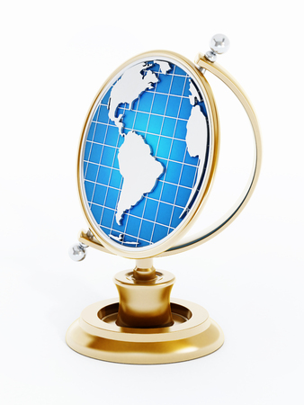Golden trophy with earth map. 3D illustration.