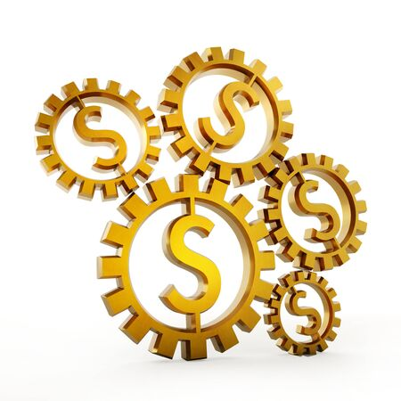 mechanism: Cogwheels with dollar shape isolated on white background. 3D illustration.