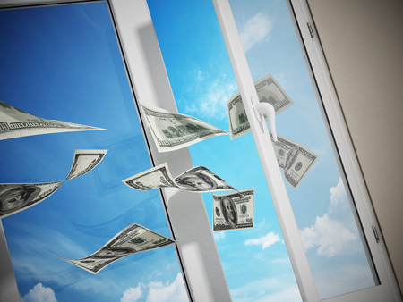 Dollars flying out of the window. 3D illustration. 스톡 콘텐츠