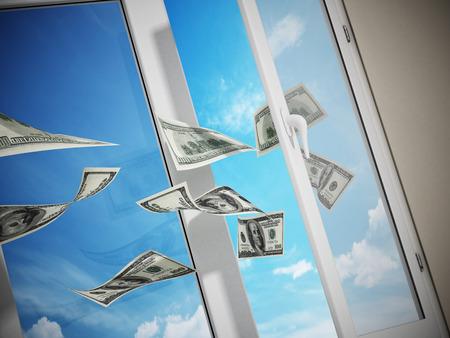 finestra: Dollari volare fuori dalla finestra. illustrazione 3D.