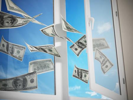 ventana abierta: Dólares volando por la ventana. Ilustración 3D. Foto de archivo