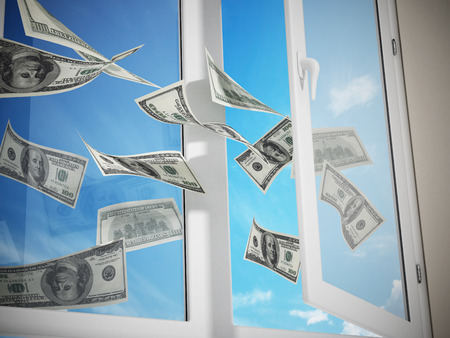 coming out: Dollars flying out of the window. 3D illustration. Stock Photo