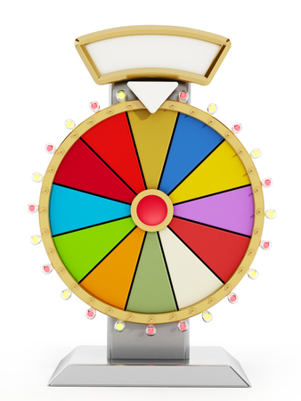Wheel of fortune isolated on white background. 3D illustration. 스톡 콘텐츠