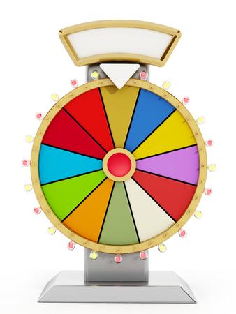 rueda de la fortuna: Rueda de la fortuna aisladas sobre fondo blanco. Ilustración 3D.
