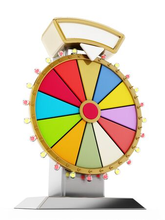 Wheel of fortune isolated on white background. 3D illustration. Archivio Fotografico