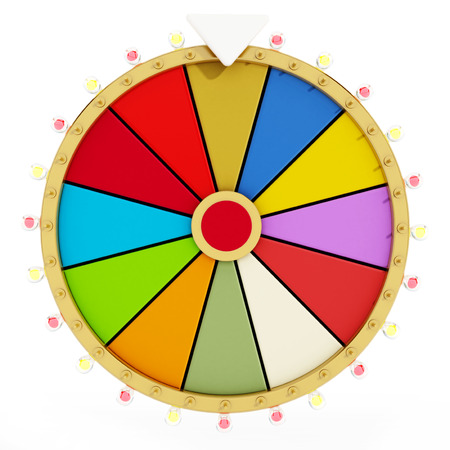spin: Wheel of fortune isolated on white background. 3D illustration. Stock Photo