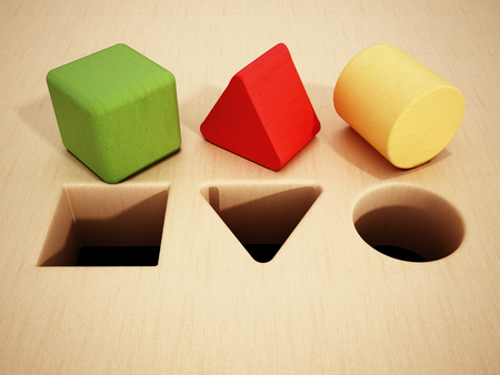 Cube, prism and cylinder wooden blocks in front of holes. 3D illustration.