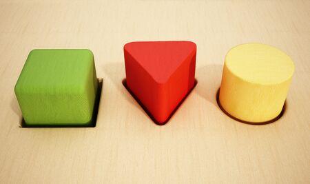 prisma: Cubo, prisma y cilindro bloques de madera dentro de los agujeros. Ilustraci�n 3D.