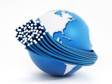 Glasvezelkabels over de hele wereld op een witte achtergrond. 3D-afbeelding. Stockfoto