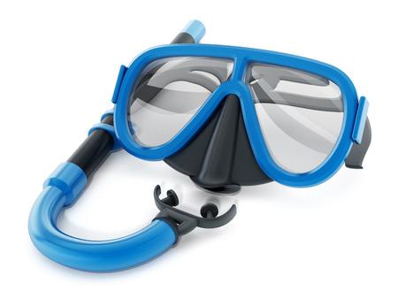 Schnorchel und Taucherbrille auf weißem Hintergrund. 3D-Darstellung. Standard-Bild