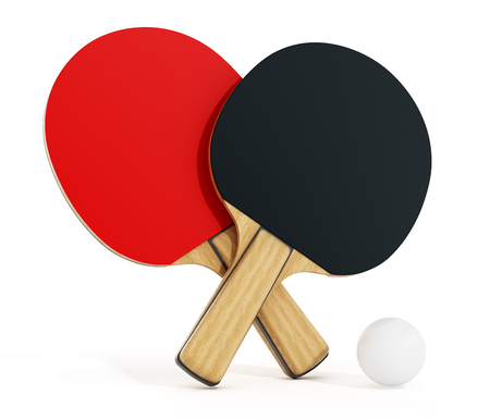 ping pong: Ping pong or table tennis rackets isolated on white background. 3D illustration.