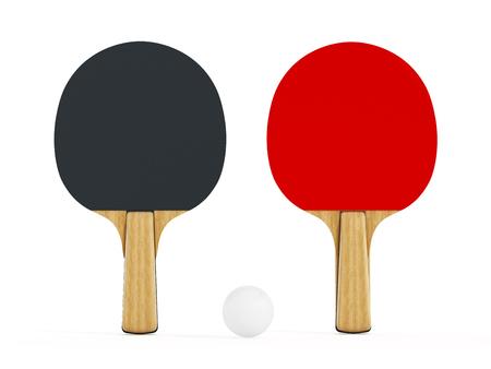 pingpong: Del ping-pong o tenis de mesa raquetas aislados sobre fondo blanco. Ilustración 3D. Foto de archivo