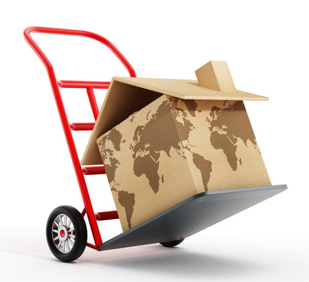 earth moving: House shaped cardboard box with world map texture on hand truck. 3D illustration.