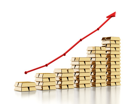 rising prices: Red arrow above gold ingots. Rising gold prices concept. 3D illustration.