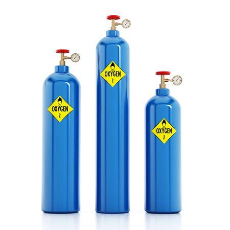 tanks: Oxygen tanks isolated on white background. 3D illustration.
