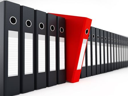 standing out: Red folder standing out from black folders. 3D illustration.