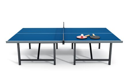 pong: Ping pong table, rackets and ball. 3D illustration