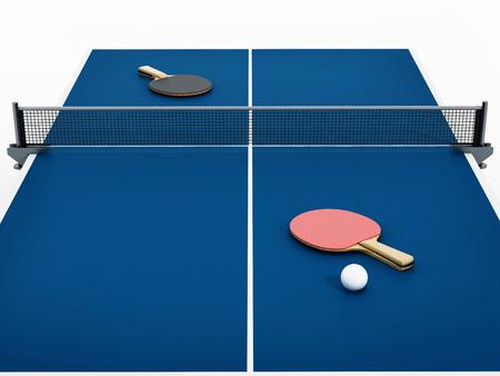 ping pong: De ping-pong, raquetas y bolas. ilustración 3D