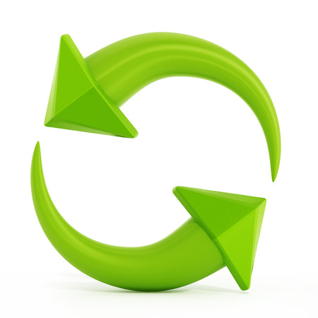 waste 3d: Recycle symbols with turning arrows. 3D illustration.