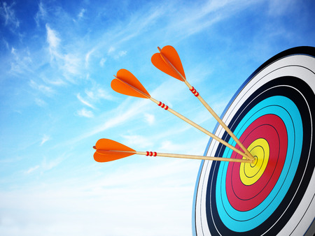 Three arrows hit at the center of the target. 3D illustration.