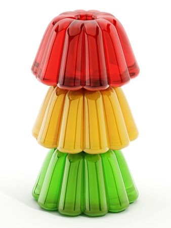 gelatin: Red, yellow and green jellies isolated on white background. 3D illustration.