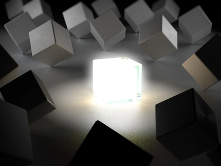 standing out: Box emitting light standing out among boxes. 3D illustration. Stock Photo