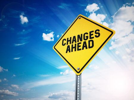 changes: Changes ahead sign against blue sky. 3D illustration. Stock Photo