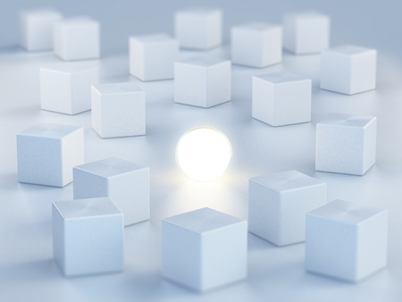 standing out: Sphere emitting light standing out among boxes. 3D illustration.