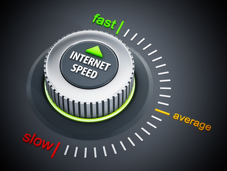 internet speed: Internet speed dial button pointing fast. 3D illustration.