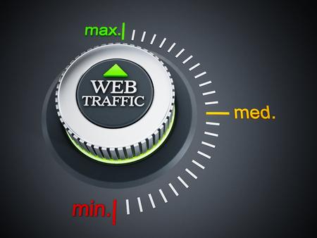 web traffic: Web traffic button pointing maximum. 3D illustration.