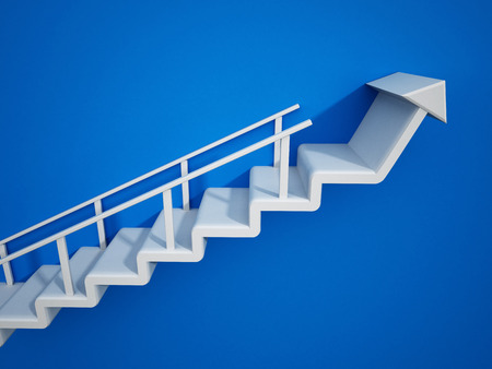 Staircase with an arrow leading up. 3D illustration.