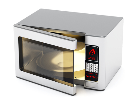 Microwave oven with half open cover. 3D illustration.