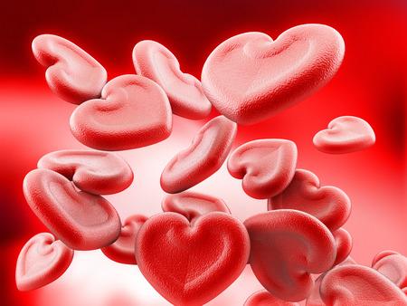 Human heart shaped blood cells background. 3D illustration.