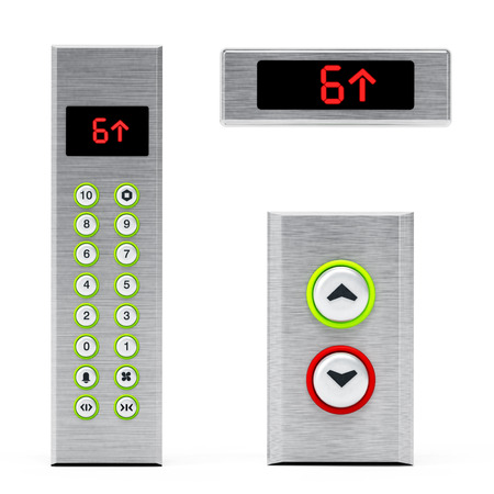 lcd display: Elevator panels with buttons and LCD display. 3D illustration.