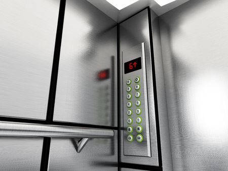 office buttons: Elevator panel with buttons and LCD display. 3D illustration.