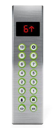 lcd display: Elevator panel with buttons and LCD display. 3D illustration.