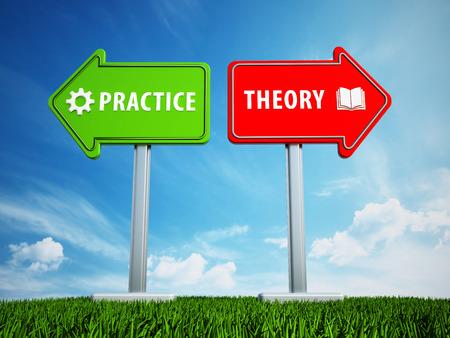 Las flechas verdes y rojas con las palabras teoría y la práctica en el fondo azul. Ilustración 3D. Foto de archivo