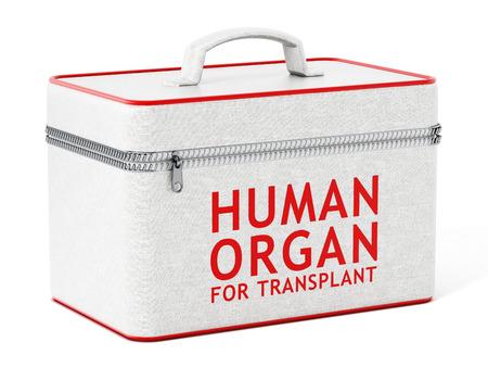 transplant: Human organ for transplant box. 3D illustration.